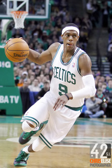 4 March 2012: Boston Celtics point guard Rajon Rondo, 18 Pts, 17 Reb, 20 Ast, 1 Stl, 1 Blk. © Chris Elise