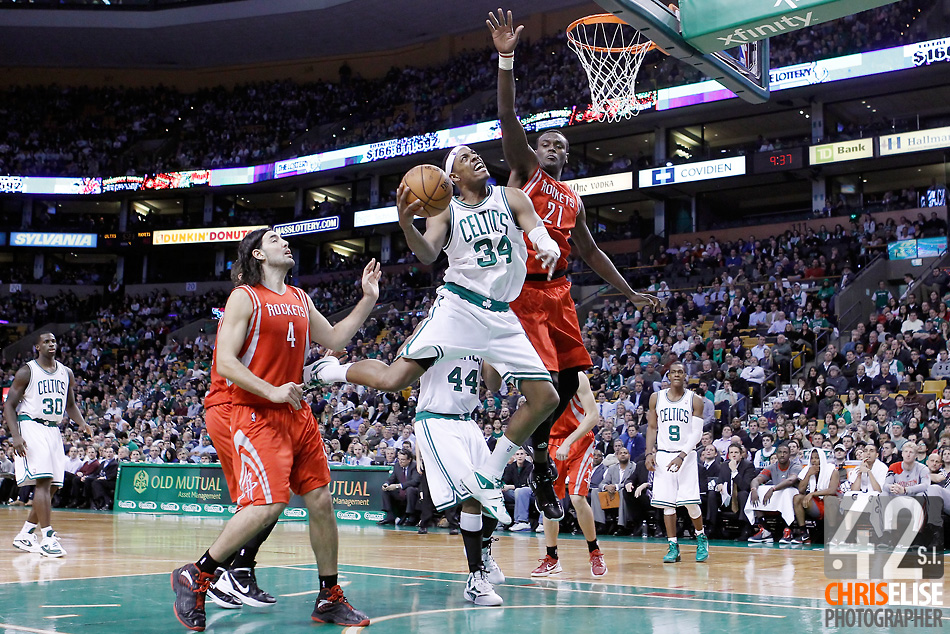 06 March 2012: Boston Celtics small forward Paul Pierce (34) goes for the layup against Houston Rockets center Samuel Dalembert (21) during the Boston Celtics 97-92 (OT) victory over the Houston Rockets at the TD Garden, Boston, Massachusetts, USA. © Chris Elise
