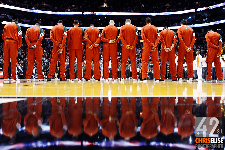 22 January 2012: Milwaukee Bucks players stand during the national anthem prior to the Milwaukee Bucks 91-82 victory over the Miami Heat at the AmericanAirlines Arena, Miami, Florida, USA. © Chris Elise