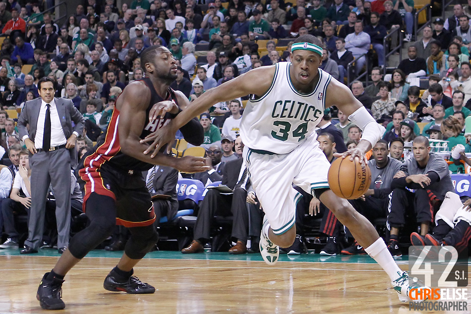01 April 2012: Boston Celtics small forward Paul Pierce (34) drives past Miami Heat shooting guard Dwyane Wade (3) during the Boston Celtics 91-72 victory over the Miami Heat at the TD Banknorth Garden, Boston, Massachusetts, USA. © Chris Elise