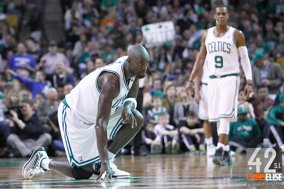 01 April 2012: Boston Celtics power forward Kevin Garnett (5) is seen on defense during the Boston Celtics 91-72 victory over the Miami Heat at the TD Banknorth Garden, Boston, Massachusetts, USA. © Chris Elise