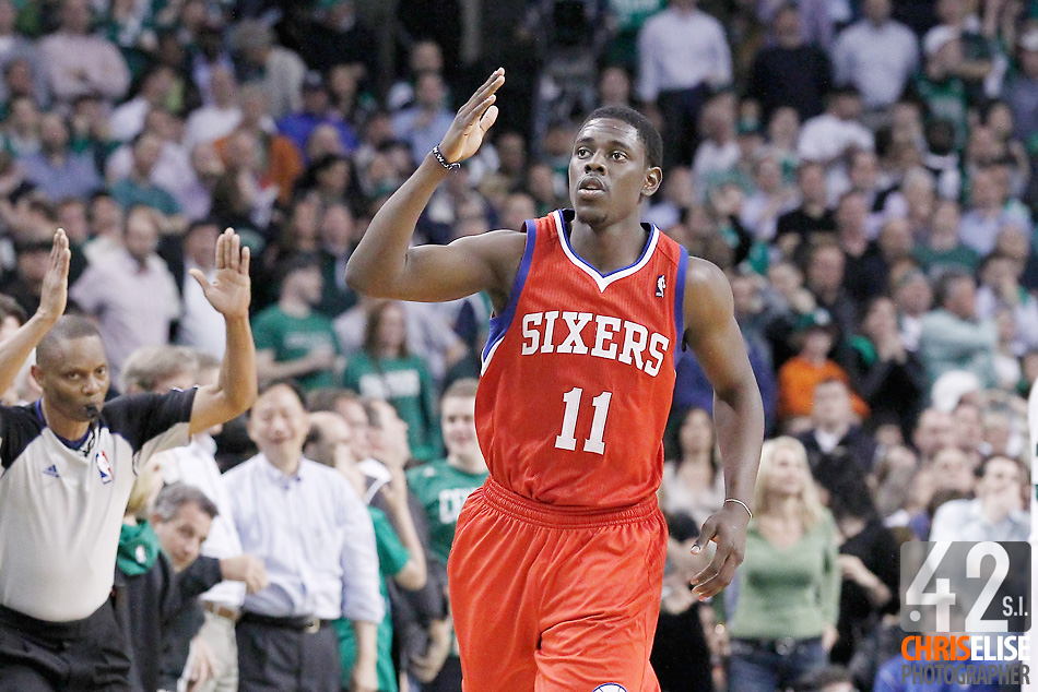 14 May 2012: Philadelphia Sixers point guard Jrue Holiday (11) celebrates during the Philadelphia Sixers 82-81 victory over the Boston Celtics, in Game 2 of the Eastern Conference semifinals playoff series, at the TD Banknorth Garden, Boston, Massachusetts, USA. © Chris Elise