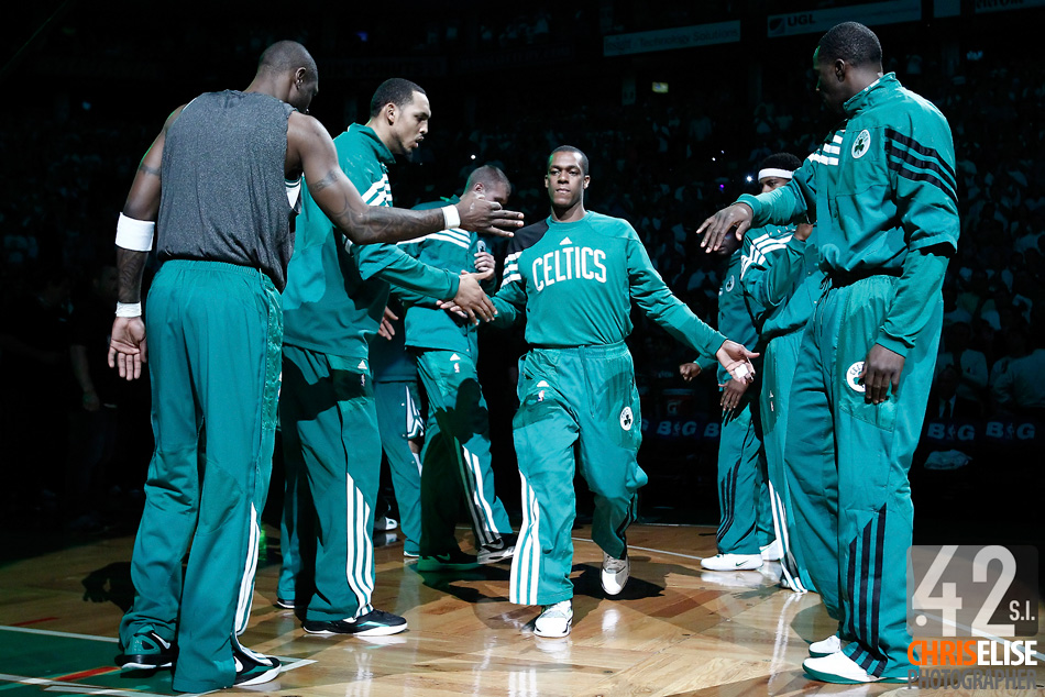 26 May 2012: Boston Celtics point guard Rajon Rondo (9) is seen during the players introduction prior to the Boston Celtics 85-75 victory over the Philadelphia Sixer, in Game 7 of the Eastern Conference semifinals playoff series, at the TD Banknorth Garden, Boston, Massachusetts, USA. © Chris Elise