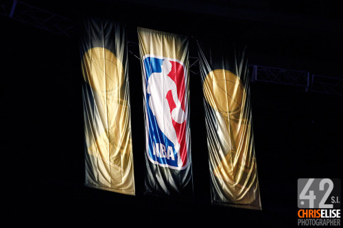 12 June 2012: NBA logo and Championships trophy banners are seen in the rafters during the Oklahoma City Thunder 105-94 victory over the Miami Heat, in Game 1 of the 2012 NBA Finals, at the Chesapeake Energy Arena, Oklahoma City, Oklahoma, USA. © Chris Elise