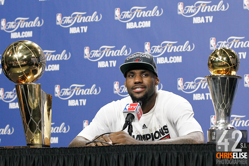 21 June 2012: Miami Heat small forward LeBron James (6) answers journalists during a press conference following the Miami Heat 121-106 victory over the Oklahoma City Thunder, in Game 5 of the 2012 NBA Finals, at the AmericanAirlinesArena, Miami, Florida, USA. The Miami Heat wins the series 4-1. © Chris Elise
