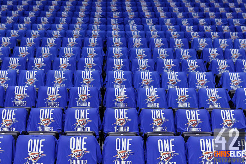 12 June 2012: View of seats and tee-shirts prior to Game 1 of the 2012 NBA Finals between the Heat and the Thunder, at the Chesapeake Energy Arena, Oklahoma City, Oklahoma, USA. © Chris Elise
