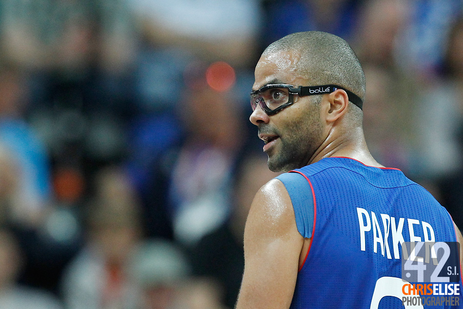 29 July 2012: Tony Parker of France reacts during the 98-71 Team USA victory over Team France, during the men's basketball preliminary, at the Basketball Arena, in London, Great Britain. © Chris Elise
