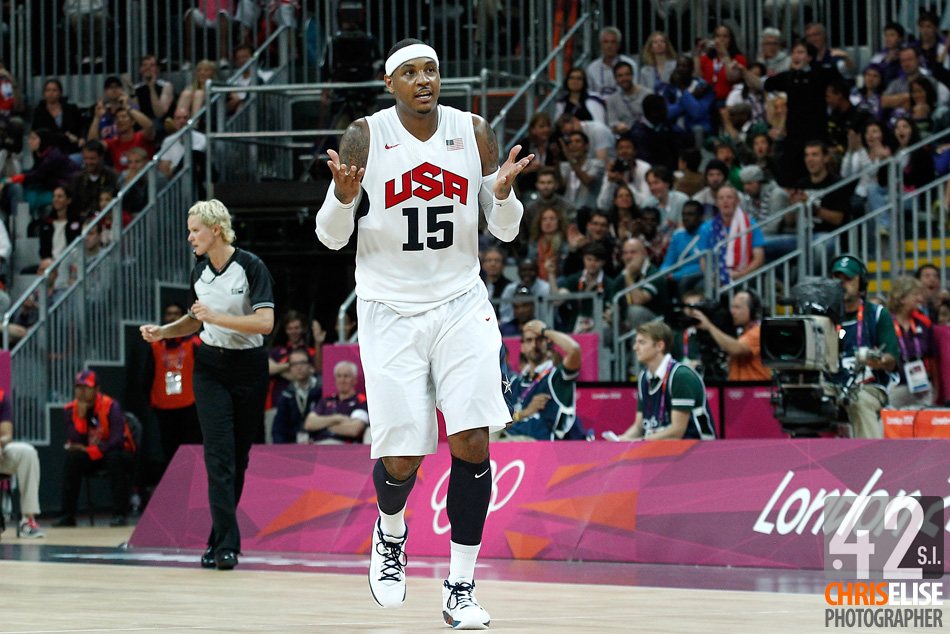 02 August 2012: Carmelo Anthony shrugs his shoulders after scoring his 10th three points shots during 156-73 Team USA victory over Team Nigeria, during the men's basketball preliminary, at the Basketball Arena, in London, Great Britain. © Chris Elise