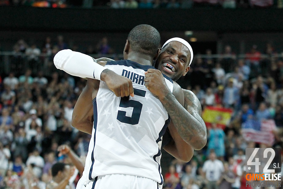 12 August 2012: USA Kevin Durant and LeBron James celebrate at the end of the 107-100 Team USA victory over Team Spain, during the men's Gold Medal Game, at the North Greenwich Arena, in London, Great Britain.  © Chris Elise